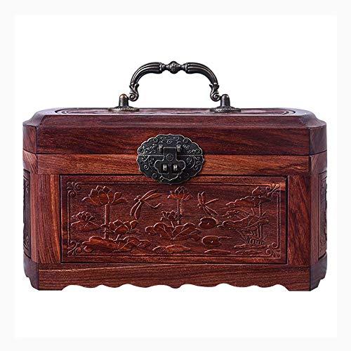ALIANG Cajas de joyería, Caja de Almacenamiento del Organizador del Anillo/Collar/Pendiente del joyero de Madera Hecho a Mano de la Vendimia clásica