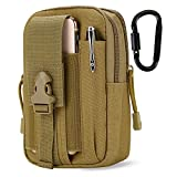 DOUN Outdoor Tactical Waist Bag EDC Molle Belt Waist Pouch Security Purse Phone Carrying Case for iPhone 8 plus Galaxy Note 9 S9 Or Less than 6.2 inches Smartphone - Khaki