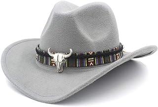 Sombrero de vaquero 2019 Hombres Mujeres Sombrero de vaquero occidental de lana con banda for la cabeza de vaca Sombrero de iglesia de ala ancha pop Sombrero Sombrero de fascinador Sombrero de iglesia
