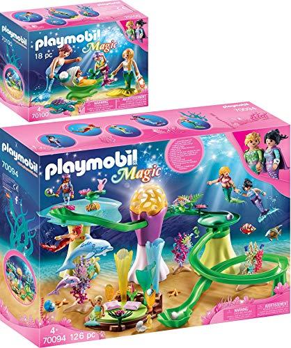 PLAYMOBIL® Magic 2er Set 70094 70100 Korallenpavillon mit Leuchtkuppel + Familie mit Muschelkinderwagen