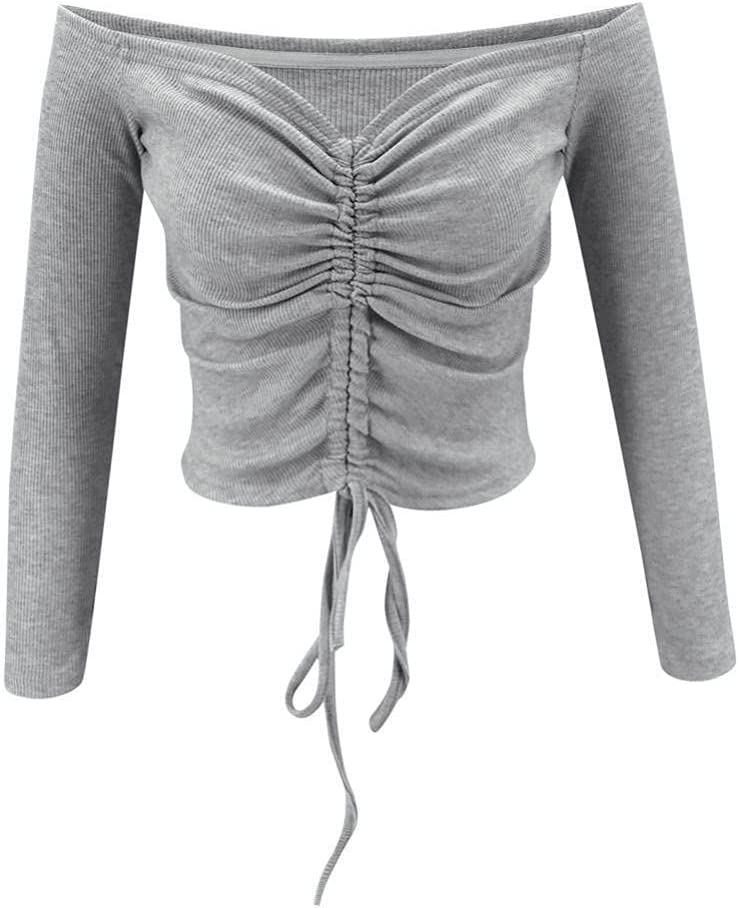 HSHUIJP Sexy Tops for Women Women Sexy Off Shoulder Drawstring Knitted Short Tops Long Sleeve Slash Neck Slim Solid Club Fashion Casual Crop Top T Shirts Women, s Vests (Color : Gray, Size : L)
