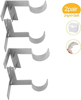 Lnlofen Single Curtain Rod Brackets - 2Pair - Adjustable Curtain Rod Holders - Tap Right into Window Frame for Window Bedroom Home Decoration (Silver)