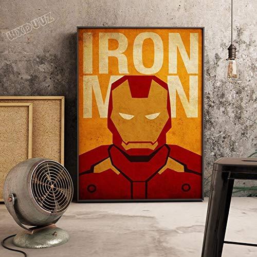 SDFSD Klassischer Superheld Film Superpower Retro Poster Bild Cartoon Kinderzimmer Kinderzimmer Wandkunst Home Decor Leinwand Gemälde 90 * 120cm L.