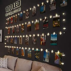 Litogo Clip Cadena de Luces LED, 10m 100 Led Colgar Fotos de Luces 60 Pinzas Para Fotos Fotoclips Guirnalda de Luces Pinzas con Luz para Colgar Fotos Por decoración, Habitaciones, Bodas,Cumpleaños