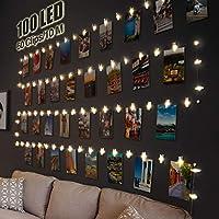 【100 LED e 60 clip e 20 chiodi】 Le nostre luci foto pioli hanno 100 LED. Ogni led da 10 cm, lunghezza totale 10 m. Dotato di 60 clip trasparenti per visualizzare più immagini, carte, stampe, opere d'arte per bambini, disegni, detti e altro. Viene for...