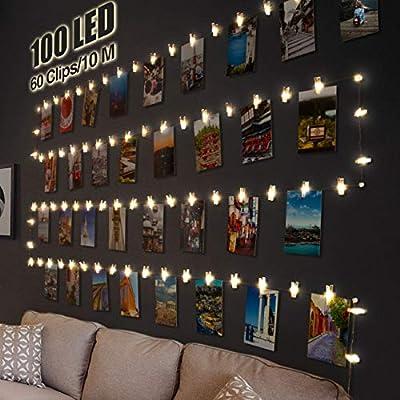 💖 【100 LED y 60 clips y 20 clavos】Nuestras Clip Cadena de Luces tienen 100 LED. Cada Led 10cm, total 10M de largo. Equipado con 60 clips transparentes para mostrar múltiples imágenes, tarjetas, impresiones, obras de arte para niños, dibujos, refranes...