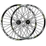 Rueda para Bicicletas,Eje Barril de 15/12mm Juego de Ruedas Bicicleta de Montaña Llanta de Doble Piso Freno Disco 7/8/9/10/11 Velocidad (Color : Green, Size : 26in/15mmaxis)