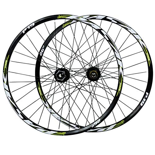 ZNND 26/27.5/29''Cycling Wheels,Double Wall MTB Rim 32 Holes Front 2 Rear 4 Bearings Disc Brakes 7-11 Speed Flywheel (Color : Yellow, Size : 29in)