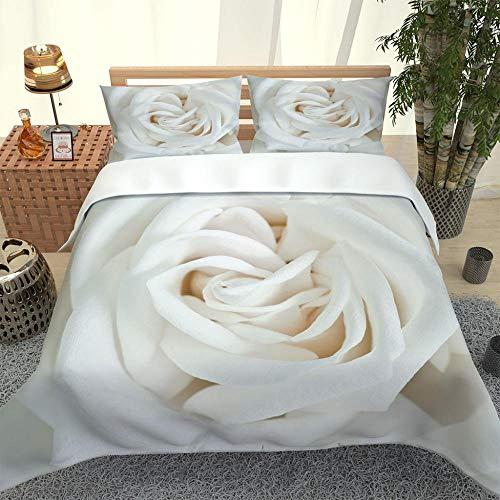 ZHIYYQ Juego de ropa de cama de tres piezas, funda de edredón, funda de almohada, tamaño doble, impresión digital 3D de microfibra, calidez gruesa y flores blancas de regalo, 200 x 200 cm