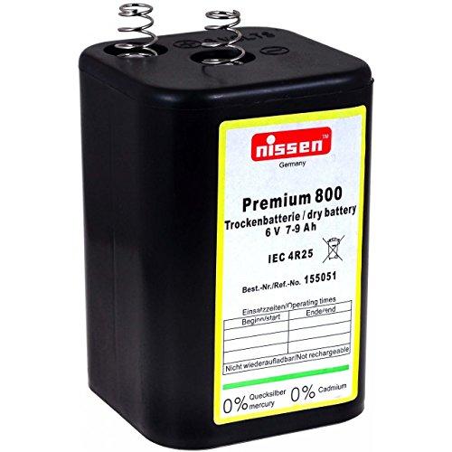 Nissen 4R25 6V-Blockbatterie Premium 800, Zink-Kohle, 6V