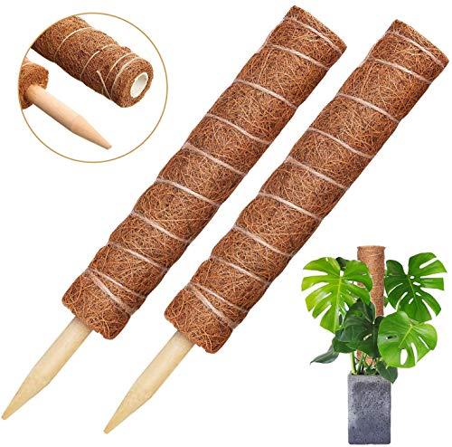 Vibury Tótem De Fibra De Coco, 42cm 2 Piezas Palo de Tótem de Coco Palo de Musgo de Coco para Enredaderas Soporte de Plantas Extensión Escalada Plantas