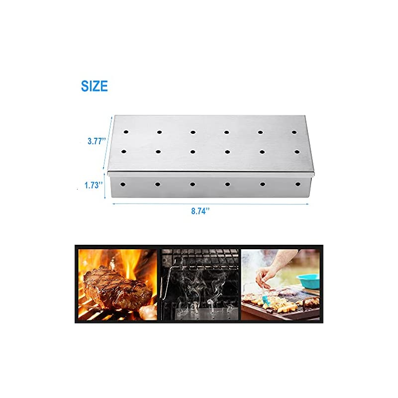 konzeel. Stainless Steel Smoker Box for BBQ Grill Wood Chips, Fit Hot Smoking & Cold Smoking Smoke Generator for…