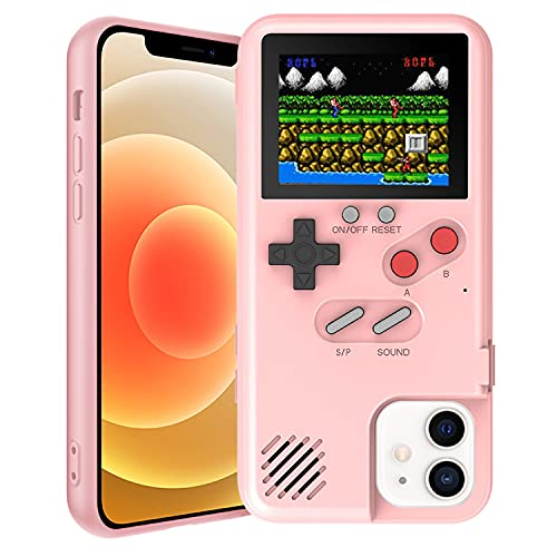 Gameboy Case for iPhone, Autbye Retro 3D Phone Case Game Console with 36 Classic Game, Color Display Shockproof Video Game Phone Case for iPhone (for iPhone Xs Max, Pink)
