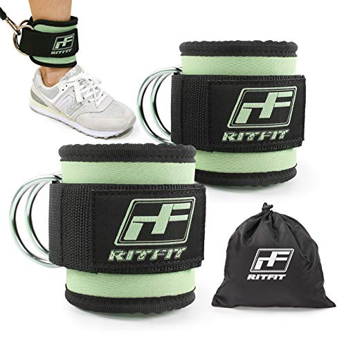 RitFit Fitness Padded Ankle Strap for Cable Machines with Carry Bag - Reinforces Double D-Ring, Adjustable Comfort fit Neoprene, Ideal for Glute & Leg Workouts (Mint Green(Double D-Ring), Single)