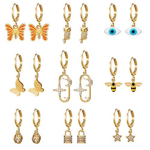 Pendientes de aro pequeños Charm Butterfly Star Juego de 9 pares para mujer Mini pendientes de aro...