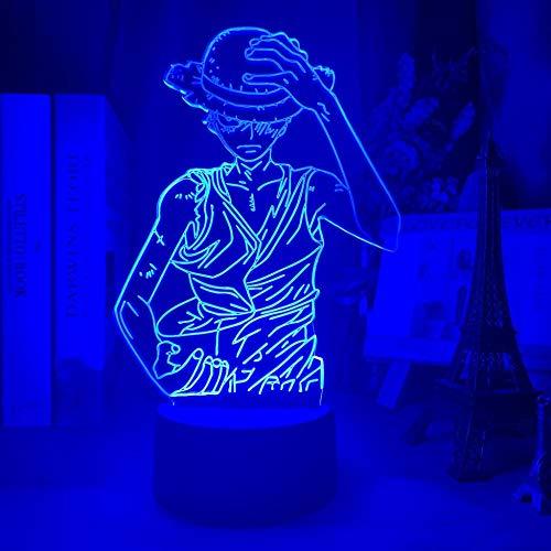 ZGLQ - Luz nocturna 3D con diseño de anime de una sola pieza y figura de luffy, luz nocturna para niños, cambia de color, cambia de ambiente para niños, dormitorio, decoración de mesita de noche
