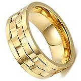 Flongo Anello Acciaio Inossidabile Uomo Ruotabile Ruota Colore Argento/Oro,Misura da Scelta,Portafortuna Regalo