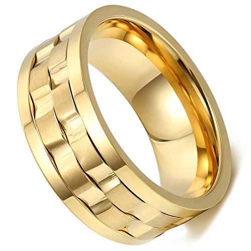 Flongo 9mm Edelstahl Ring Ringe Band Gold Golden Gravierte Gravur Welle Design Drehbar Charm Charme Elegant Herren, 65mm