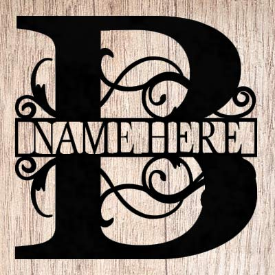 Split Letter C Monogram Metal ACM Sign Personalized Last Name C Door Hanger Initial C Wreath 24 in