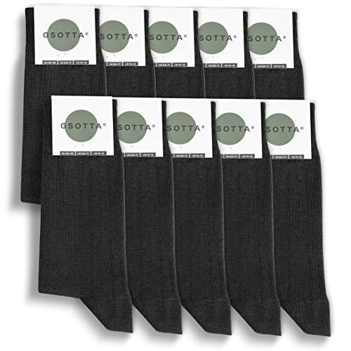 GSOTTA 10er Pack Premium Socken, Business-Socken für Damen & Herren, unisex, Strümpfe aus Baumwolle, Arbeitssocken mit weichem Bund, in Schwarz, Größe 43-46