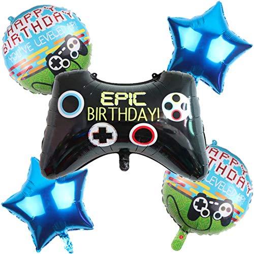 DIWULI, Gamer Luftballons 5 Teile Set, Happy Birthday, Gaming Folien-Ballons, Geburtstagsballons, Gamepad Folienluftballon, Gamer-Ballons Geburtstag, LAN-Party, Junge Kindergeburtstag, Dekoration