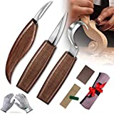 Wood Carving Tools Knife Set, JIMOTEK 9 PCS Wood Carving Kit with Carving Hook Knife, Whittling Knife, Chip Carving Knife, Whittling Kit for Beginners, Spoon Bowl Cup Pumpkin Carving.