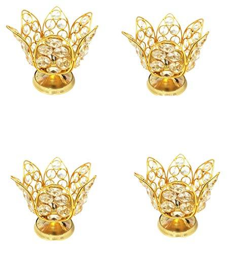 SSR Pack of 4 Handmade Brass Lotus Crystal Diya(6 inch x 6 inch x 4.5 inch) Golden