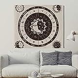 Horoskop Astrologie Wandteppich Wandbehang Sonne Mond Tuch Wandtuch Hippie Sternzeichen Tapestry Tapisserie Wanddeko als Strandtuch Tischdecke Beige 230x150cm