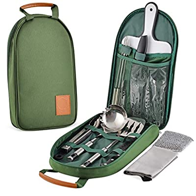 Onyx Outfitters Camping Kitchen Utensil Set - 27+ Piece Stainless Steel Outdoor Camping and Grilling Utensil Kit for Hiking, Travel, Picnics, RV's, BBQ's, and Outdoor Living
