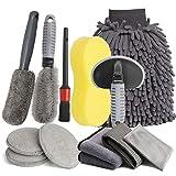 LICQIC Kit Limpieza Coche 12 Piezas, Kit de Herramientas de Lavado de Autos, Set de Cepillo Limpieza Coche, para Lavado Ruedas, Ventilación de Aire, Moto, Interior y Exterior