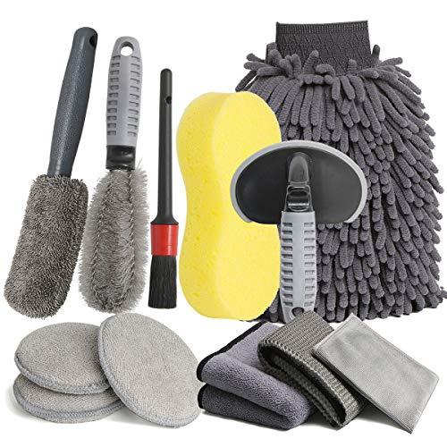 LICQIC Auto Autopflege Reinigung Set, 12 PCS Reinigungs Set Mikrofaser Auto Detaillierung Waschen Werkzeuge, Autowasch Handtücher, Autobürsten, für Auto Motorrad Innen und Außen Haushalt Reinigung