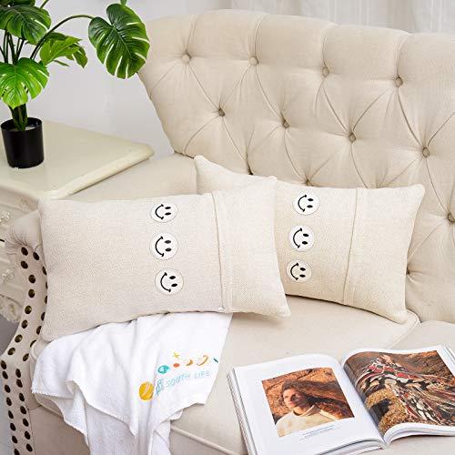 Knlpruhk 2 Stück Premium Chenille Wurf Kissenbezüge Lendenkissen Fall mit lächelndem Gesicht Stickerei Dekorative für Sofa Schlafzimmer Auto Stuhl 12 x 30 Zoll 30 x 50 cm Creme Weiß