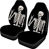 INSTANTARTS Halloween Skeleton Skull Print Car Seat Covers Front Only Car Interior Protector Auto Bucket Seat Cover for Cars Trucks, Suvs, Sedans Universal Fit