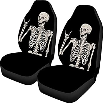 INSTANTARTS Funny Skull Print Car Seat Covers Front Only Car Interior Protector Auto Bucket Seat Cover for Cars Trucks Suvs Sedans Universal Fit