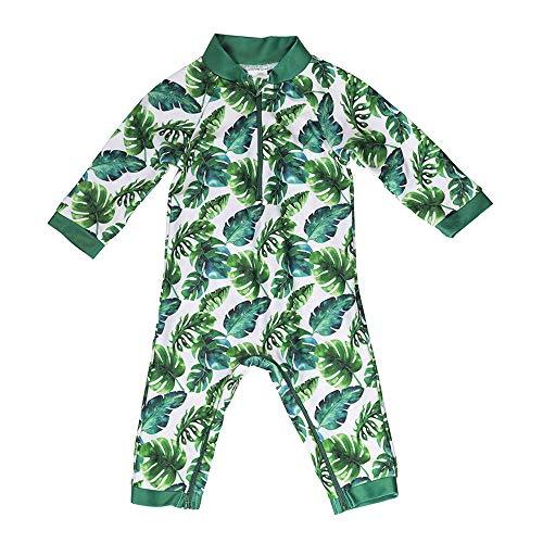 Honeysuckle Swim Company Unisex Baby Swimsuit - Certified UPF 50+ - Easy Inseam Diaper Zipper (18-24, Ferntastic)