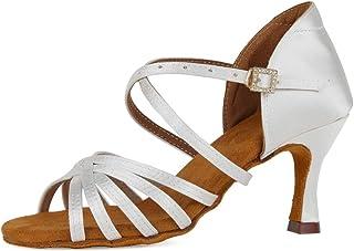 SWDZM Chaussures de Danse pour Femmes, Latine Salsa Bachata Tango Chaussures de Danse en Soie, Chaussures de Danse Standar...