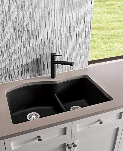 """BLANCO, Anthracite 441590 DIAMOND SILGRANIT 60/40 Double Bowl Undermount Kitchen Sink with Low Divide, 32"""" X 21"""""""