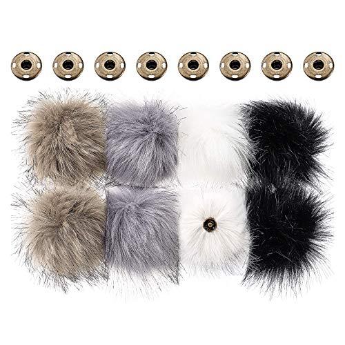 Faux Fuchs Pelz Flauschige Pompon Ball für Hut mit Abnehmbarem Druck Knopf für Stricken Hut Schuhe Schals Tasche (Farbe A, 8 Stücke)