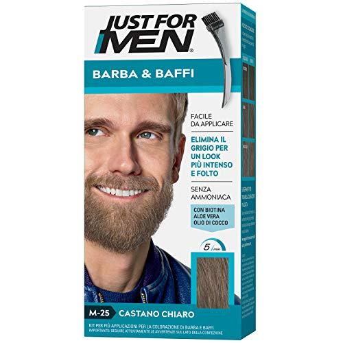 Just for men Barba & Baffi – Tinta M-25 Castano Chiaro Per Uomo Senza Ammoniaca Con Pettine Appplicatore - Base Color 4 G E Attivatore Color 4 G, M25 –Castano Chiaro