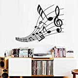 Mural de arte eufonioso notas musicales partitura sala de estar decorativo música pegatinas de pared extraíble vinilo autoadhesivo en la pared calcomanía 59 x 44 cm