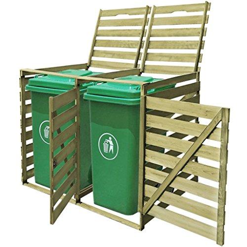Tidyard Mülltonnenbox aus Holz Mülltonnenverkleidung Mülltonnenschrank (für 2 Tonnen Imprägniertes bis 240 Liter) wetterfest für draußen/Outdoor geeigne