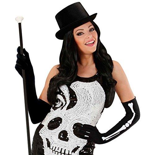 NET TOYS Longs Gants avec Mains de Squelette Gothique Gants de Gala Noirs Ossements Longs Gants Os Main Gants D'Opéra Squelette Manches Halloween Déguisement Accessoire