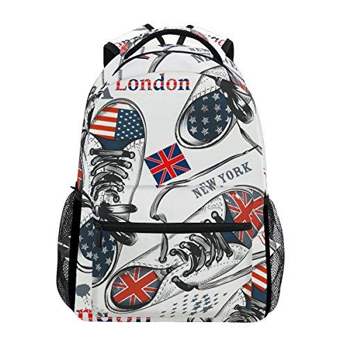 TIZORAX Schuh gestaltet von British Rucksack Schulranzen Segeltuch Wandern Reise Rucksack