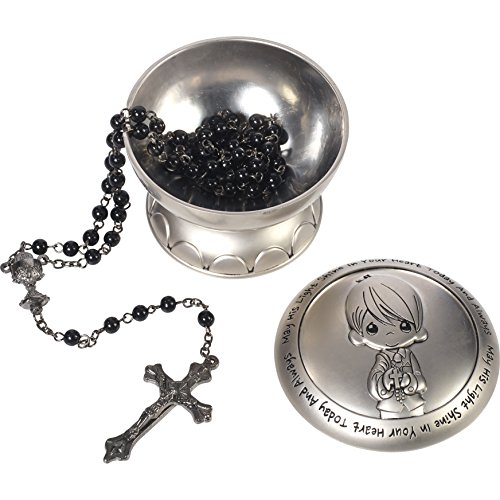 Precious Moments 172410 May His Light Shine in Your Heart Today & Always Boy First Communion Rosary & Silver Zinc Alloy Rosary Box