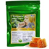 Bee Propolis Pearls $8.99 for Sore Throat Relief for Irritation Dryness Cough Natural Dietary Supplement Bag with 60 Pearls by ALKAVITA