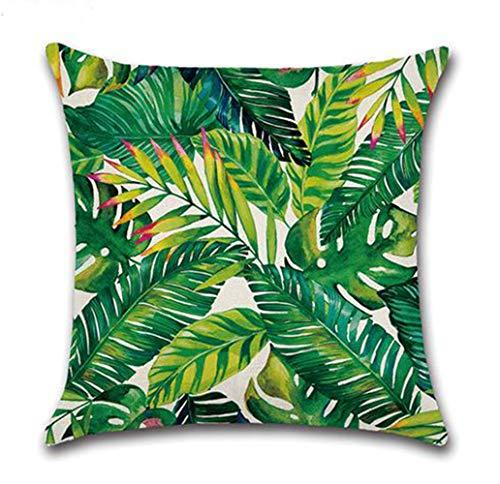 YUEMING Funda de Almohada de Lino de algodón,Plantas Tropicales Funda de cojín con ,sofá Funda de cojín del Coche decoración de la Cama en casa 45 x 45 cm, (Planta4)