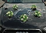 Ratan Anillos de decoración para el coche de novia, pareja de rosas, decoración para el coche, boda, decoración de ratán, color crudo
