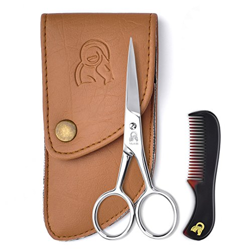 Beard and Mustache Scissors With Comb For Precise Facial Hair Trimming...