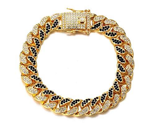 Halukakah Diamante Cubano para Hombres,14MM Fuji Cadena de Oro Iced out Miami Chapado en Oro Real de 18k Pulsera 18cm,Completos Diamantes Azul y Claro Juego de Puntas,Regalo para El
