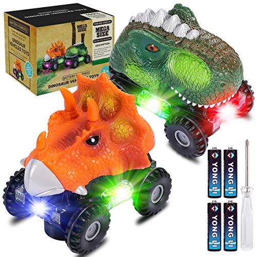 joylink Dinosaurio Coche, 2 Pcs Juguetes de Dinosaurios Coche con Luces LED y Sonido Realista Dinosaurio Juguete Coche Regalos de Cumpleaños para Niños Juguetes para Niñas de 3-8 Años (Pequeño)